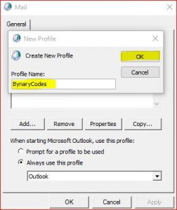 Create Microsoft Outlook Profile and Mail Configuration - Profile Name