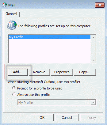 Create Microsoft Outlook Profile and Mail Configuration - Add a new profile