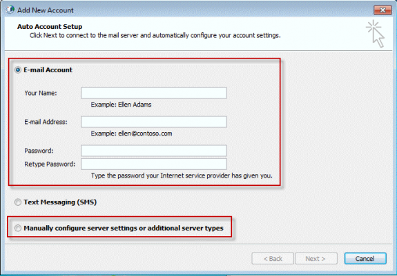 autoaccount setup or manually configure profile