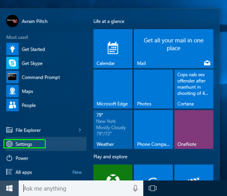 How to Enable or Disable Tablet Mode in Windows 10 - Select settings