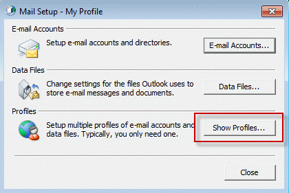 Create Microsoft Outlook Profile and Mail Configuration - Show profiles
