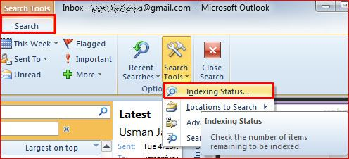 Outlook search returns No matches found