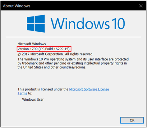 version 1709 How to check which version of Windows 10 installed