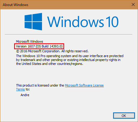 version 1607 - How to check which version of Windows 10 installed