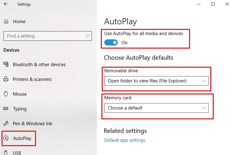 Autoplay settings -  how to change AutoPlay Settings on Windows 10