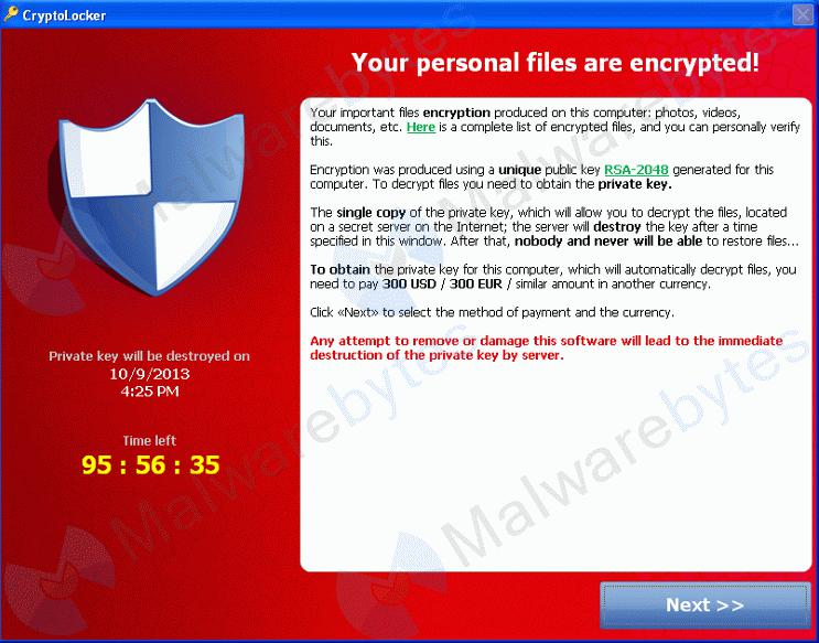 Decrypt files encrypted by Cryptolocker Ransomware