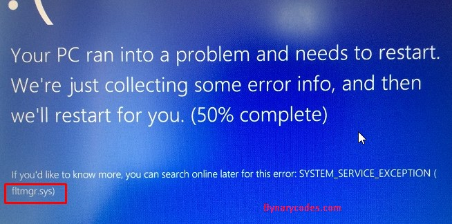 Fix System service exception fltmgr.sys blue screen error