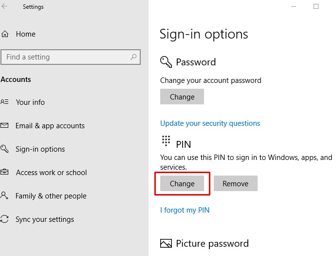 Your PIN is no longer available message on Windows 10