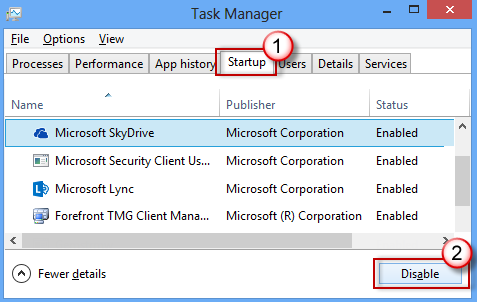 Task Manager - Startup tab - Disable perform clean boot