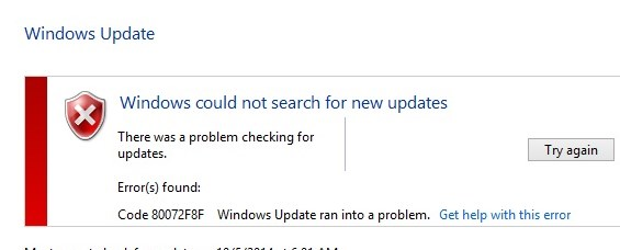 Fix Windows Update error 0x80072F8F