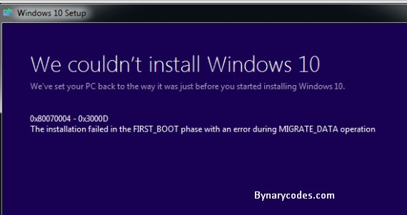 Windows 10 Upgrade Error 8007001F – 0x3000D