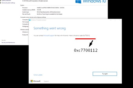 Fix Windows 10 Upgrade error 0xc7700112