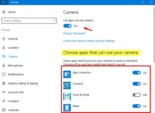 Your webcam is currently being used by another application choose apps that can use your camera.jpg