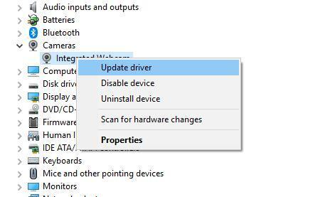 update camera driver Your webcam is currently being used by another application